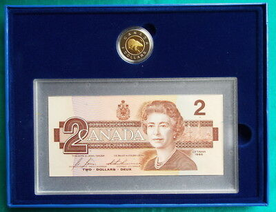 Canada 1996 $2.00 Polar Bear Proof Coin  & Robins $2.00 Banknote Set Complete