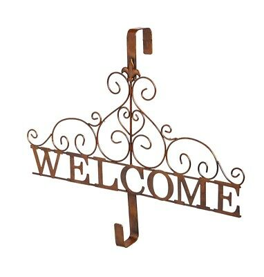 French Country Fleur De Lis Scroll Welcome Sign Wreath Holder Door Decor