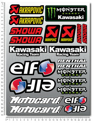 ZX-10R wsbk motorcycle decals stickers set zx10r Motocard monster elf Laminated