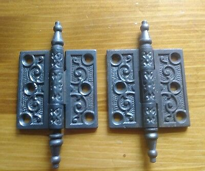 "2 ANTIQUE ORNATE CAST IRON HINGES  2 1/2"" x 2 1/2"" STEEPLE PIN  CLEAN #2"