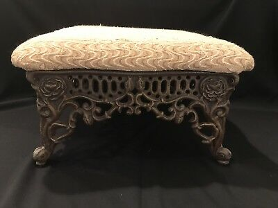 Vintage Victorian Ornate Rose Upholstered Cast Iron Foot Stool Parlor Ottoman