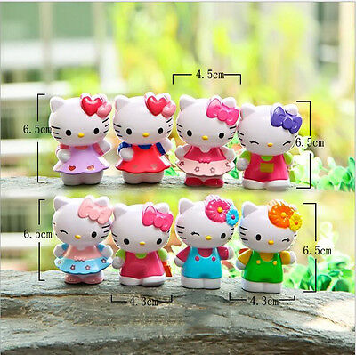 "8pcs High 2.6 ""Hello Kitty Figure Toys Exquisite Hollow Cute Dolls"