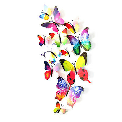 12pcs DecalWall Stickers Decal Butterflies 3D Mirror Wall Art Home Decors Green
