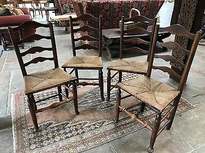 Set of Four 19th Century Ash Ladderback Chairs
