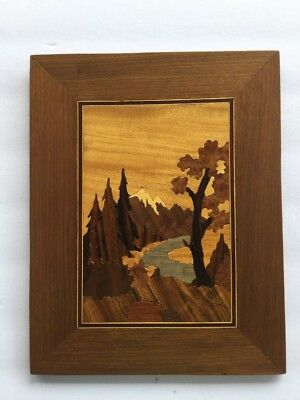 Vintage Marquetry Wall Hanging Artwork Wood Inlay Inlaid Ornate Picture Plaque