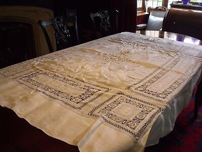 """Linen tablecloth 95"""" x 104"""", all over drawn & thread embroidery, oriental theme"""