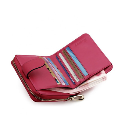 Teemzone Womens Leather Bifold Wallet with Coin Pocket Purse Pouch with Zipper C