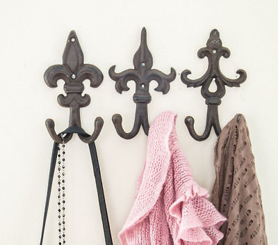 SET OF 3 - Cast Iron Fleur De Lis Double Wall Hooks / Hangers - Decorative Wall