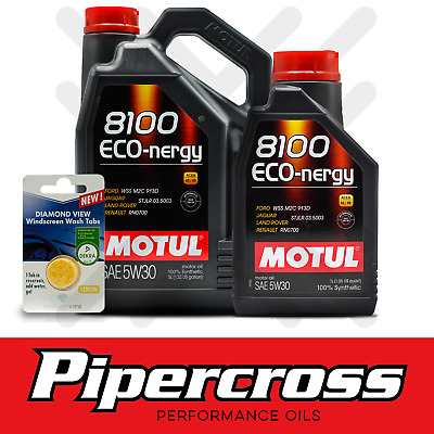 Motul 8100 Eco-nergy 5W30 Fully Synthetic Engine Oil 6 Litres 6L +SCREENWASH TAB