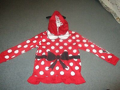 Disney Minnie Mouse Girls Size 6 Zip Up Hoody Jacket with Bow NWT