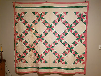 1930's Green/pink Star Cottage Quilt With Excellent Stitching!
