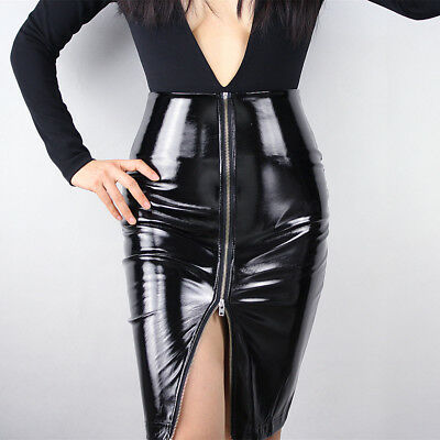 LATEX PENCIL SKIRT Shine Patent Leather Black High Rise Split Zipper Vinyl PVC