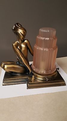 Beautiful Art Deco lamp with pink frosted glass