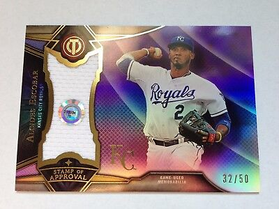 Alcides Escobar 2016 Topps Tribute Stamp o.Appr. Purple Refractor GU Jersey #/50