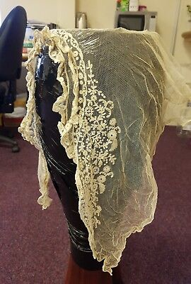 Antique Victorian Embroidered Brussels Bobbin lace wedding veil