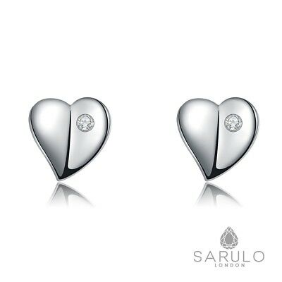 Silver Heart Stud Earrings Sarulo 925 Solid Sterling New Fashion Jewelry Box Set
