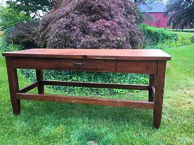 Antique Table Vintage Farmhouse Work Table 19th Century Pine Work Table One Draw