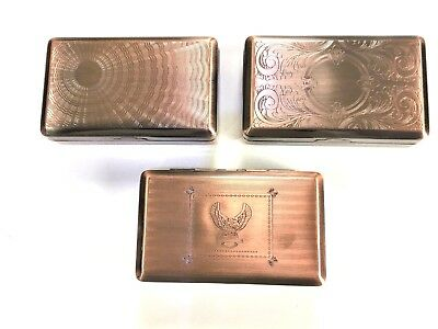 Tobacco Tin Box Case 2oz Copper Finish Smoking Cigarette Storage Paper Holder
