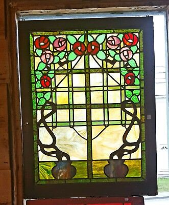Antique Rose Trellis Stained Glass Window