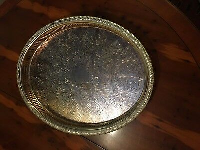 Vintage Silver Plated Galleried Tray By Cavalier of England