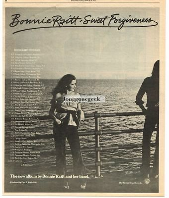 1977 Bonnie Raitt Sweet Forgiveness Vtg Album Promo Print Ad with tour dates