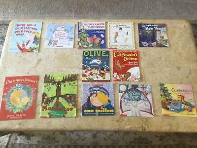 Lot of 12 Children's Winter Christmas holiday paperback picture books