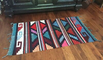 Handwoven, 100% wool rug handmade in Guatemala, one of a kind, natural dyes