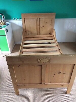 Antique French pine Sleigh Bed Single