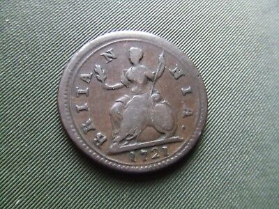 GEORGE 1st.  1721, FARTHING.  RARE.  NICE CONDITION.  GOOD PORTRAIT.