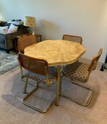 VINTAGE FORMICA TABLE flower-shaped w/Leaf w/ 4 VINTAGE CHAIRS - 1960's - VGUC!