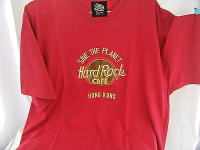 Save The Planet Hard Rock Cafe Hong Kong Red Men's T-Shirt Large New In Wrapper