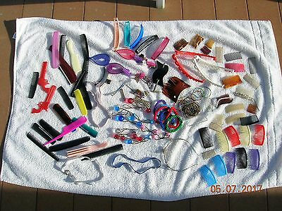 Vintage hair accessories, combs, headbands, clips, tie backs lot of over 110