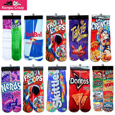 Novelty Socks Nerds Cheetos Skittles Froot Loops New!