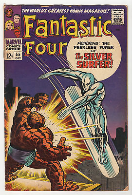 Fantastic Four #55 GD/VG Marvel 1966 THING vs. SILVER SURFER classic Jack KIrby