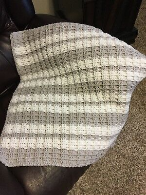 New Crochet Baby Blanket Afghan Gray White Stripes
