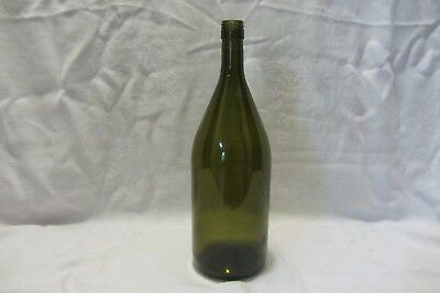 "Wine Bottle Dark Green Glass Large 13"" Labels Removed Screw Top Style"