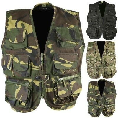 Kids Army Tactical Vest Waistcoat Boys 3-13 Fancy Dress Dpm Sas Black Camo Btp