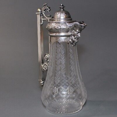 Antique Victorian Silver Plated  Bacchus Claret Pitcher Hand Cut Vessel  Nr