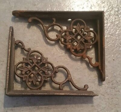 "Vintage Antique Pair Cast Iron Victorian Shelf Brackets 4"" × 3"""