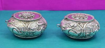 2 antique Asian silver Killota Chunam containers animal hunting scene slide lid