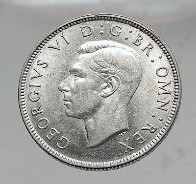 1943 United Kingdom Great Britain GEORGE VI Silver Florin 2Shillings Coin i63545