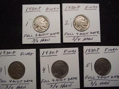 1930-P Buffalo Nickel, FINE+ Condition, FULL 4-Digit Date & 3/4 HORN Each