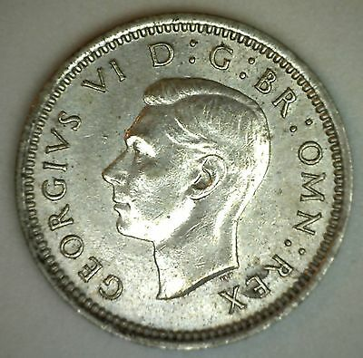 1939 Silver English 3 Pence Three Cent Great Britain UK Coin BU
