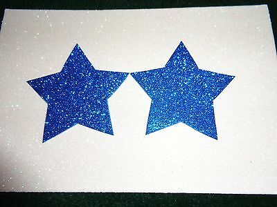 Womens Pasties/ Nipple Covers Water Resistant Blue Glitter Stars
