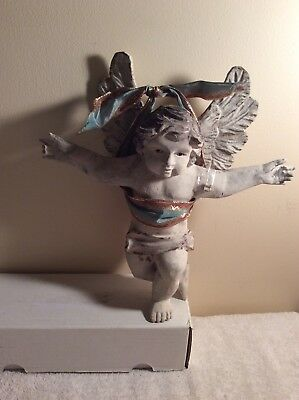 Wooden Carved  hanging Angel With Glass Eyes distressed wood