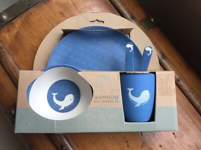 NEW Peacock Alley Bamboo Baby Kid Dinner Gift Set - Giraffe, Horse, Whale