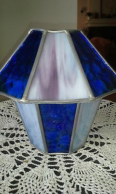 Signed Arts Crafts Stained Leaded Slag Glass Ceiling Pendant Light Fixture Shade