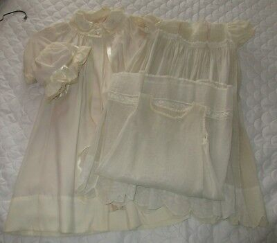 Vintage Baby Silk & Cotton Christening Gown Coat Bonnet Dress & Slip
