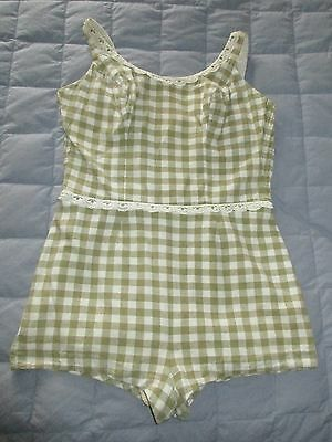 True Vintage Catalina One Piece Cotton Swimsuit - Pin Up Romper - Size 16