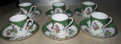 Set 6 19th Century Dresden Continental Meissen Style Porcelain Cups & Saucers